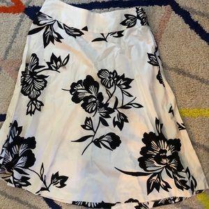 Gap white and black flower midi circle skirt
